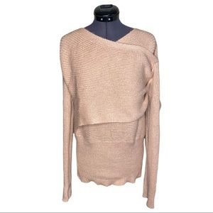 Cupshe Cross Front Light Pink Knitted Sweater Top